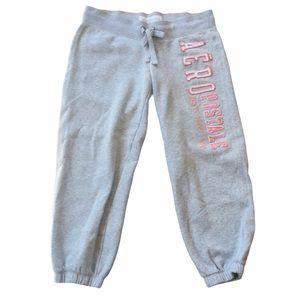 Aeropostale Small Women Sweatpants Gray Pink Capri